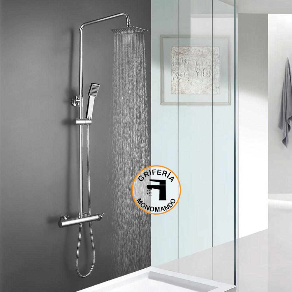 Columna de ducha monomando VER de diseño cuadrado, tubo redondo extensible regulable en altura de 80 a 120 cm. Acabados en cromo brillo. Ducha de mano y rociador cuadrados. Recambios garantizados